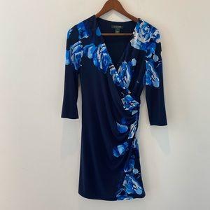 Ralph Lauren Blue Floral Faux Wrap Dress size 6p